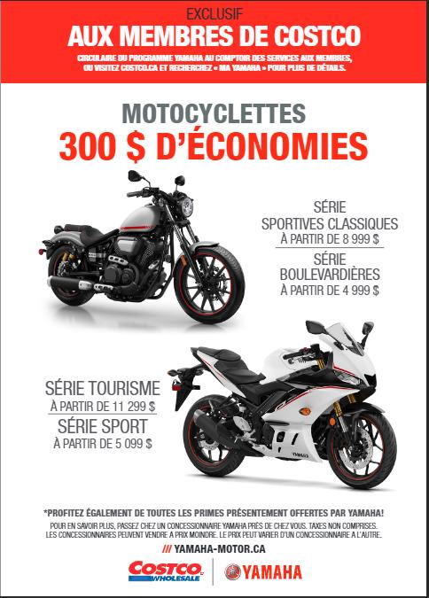 Rabais Costco-Yamaha Motocyclettes