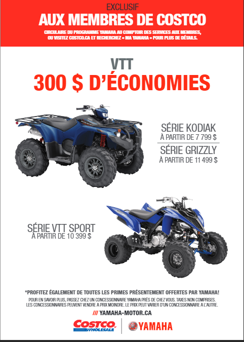 Rabais Costco-Yamaha VTT