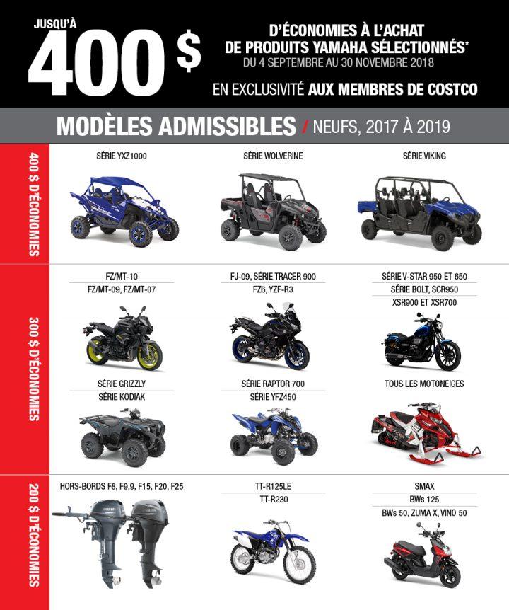 Rabais Costco-Yamaha motoneiges