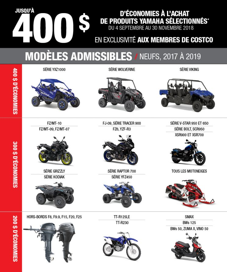 Rabais Costco-Yamaha motos
